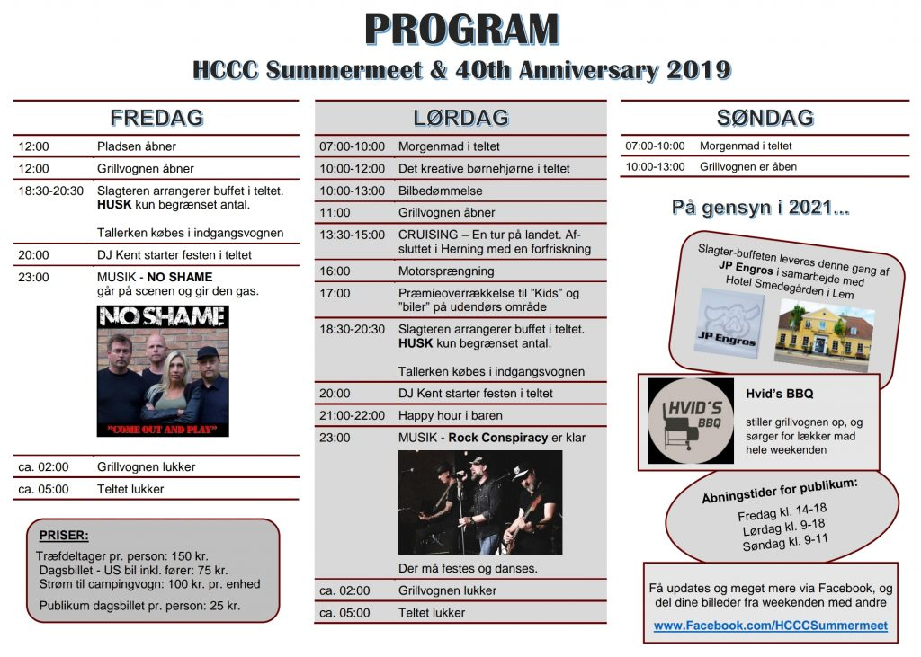 Program HCCC Summermeet 2019